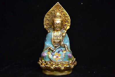 Chinese Collectible handwork Old copper cloisonne rare big buddha lotus statue