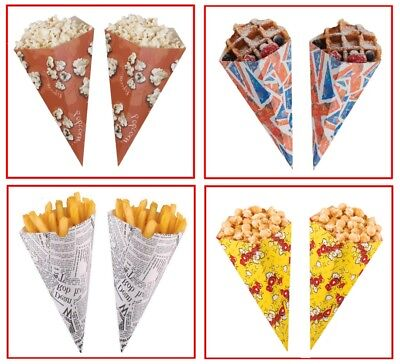 Disposable Paper Party Holder Tub Serving Scoop Cones - Popcorn / Chip Cone