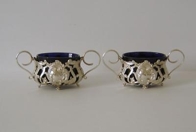 A Pair Of Ornate Antique Sterling Silver Salt Pots A/F Sheffield 1901