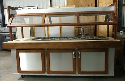 8ft Refrigerated Salad Bar Stainless Soup Wells Buffet Island Commercial