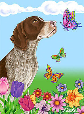 Large Indoor/Outdoor Butterfly (TP) Flag - German Shorthair Pointer 98049