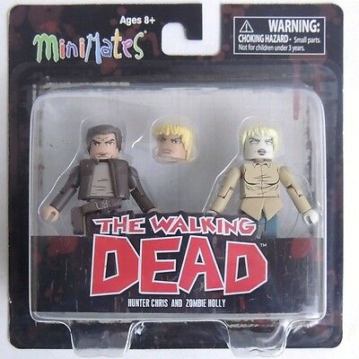 ESZ567. The Walking Dead Minimates Series 7 Hunter Chris and Zombie Holly DST