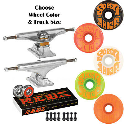 66b6e40904 Independent Trucks OJ Super Juice 60mm SKATEBOARD Wheels KIT Bones Reds  Bearings