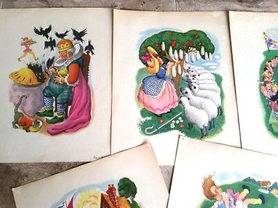 5 Large,1950's Nursery Rhyme Prints, Lil Bo Peep, Jack & Jill,Old Woman +++