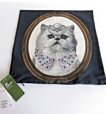 ❤ H&M Lovely Cat Cushion Cover 16 by 16 inches Zip Opening 100% Cotton NEW