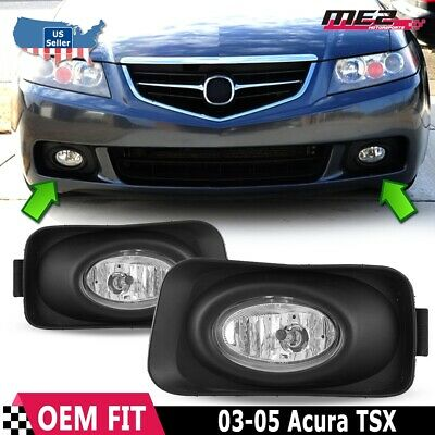 for acura tsx 04-05 factory replacement fit fog lights + wiring kit clear  lens