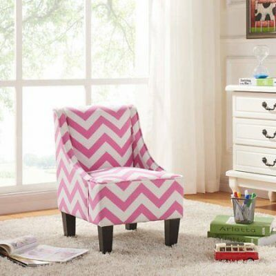 Kids Swoop Armless Contemporary Accent Chair w/ Solid Wood Legs - Pink Cheveron