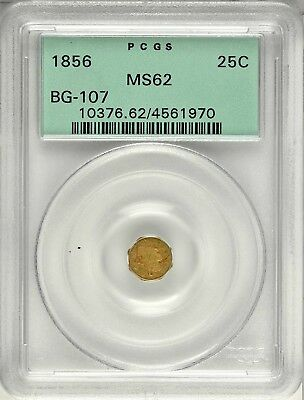 1856 Pct Liberty G25C California Fractional Gold / BG-107 PCGS MS62 OGH