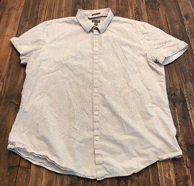 Calibrate Button front short sleeve shirt cotton white with red specks XL