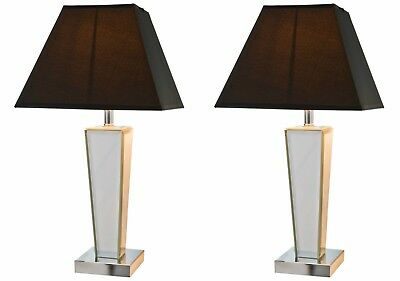 New Pair of Two 2 Art Deco Style Mirror Table Desk Lamp Lights Bedside Lounge