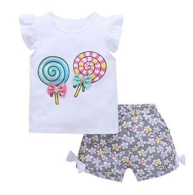 Girls summer outfits baby Tee +short pants cotton kids outfits lollipop bowtie