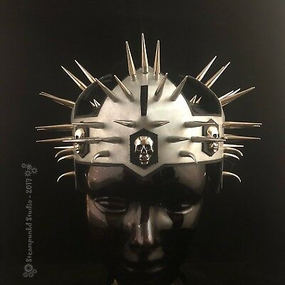 Black Leather Spiked Skull Crown Handmade in the USA Steampunk Goth Metal
