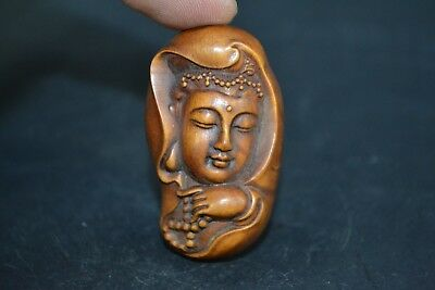 Collectible Old boxWood Carved chinese handwork kwan-yin netsuke Statue