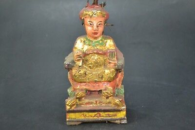 Collectible Old Wood Carved buddha ancestor handwork chinese big sit Statue
