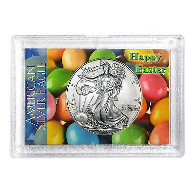 1996 $1 American Silver Eagle HE Harris Holder - Happy Easter Design