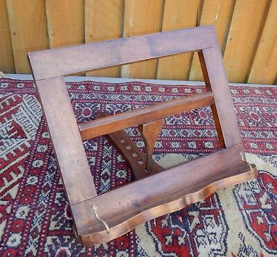 Vintage Wood & Brass Adjustable Table Top Easel Backed Book Stand