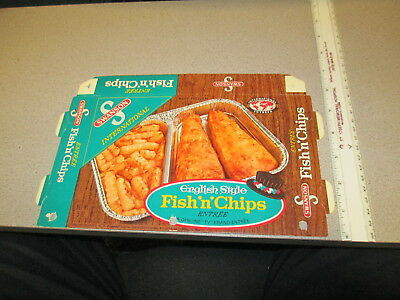 SWANSON 1971 TV dinner English style FISH N CHIPS frozen food box french fries