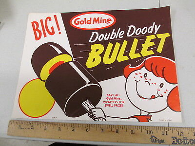 Gold Mine CHOCOLATE BULLET 1960s ice cream store display paper poster sign