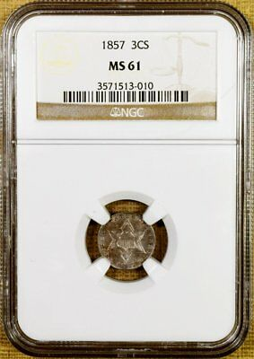 1857 NGC MS61 Three Cent Silver - Better Date