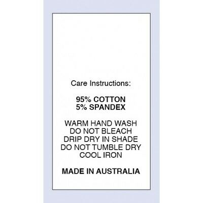 95% Cotton 5 % Spandex Sewing Washing Care Label on Nylon Taffeta 5 Packs Sizes