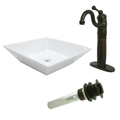 Kingston Brass Heritage Ceramic Square Vessel Bathroom Sink with Faucet
