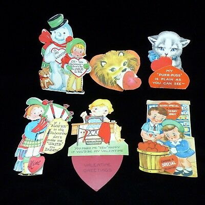 vtg Valentines Day 1940s 1950s fold out Lot of 6 children boy girl kitten