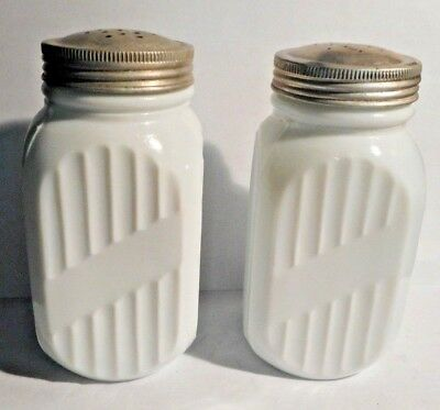 """2 Antique Anchor Hocking Milk Glass 1930's Vitrock Stove Top Shakers 5"""""""