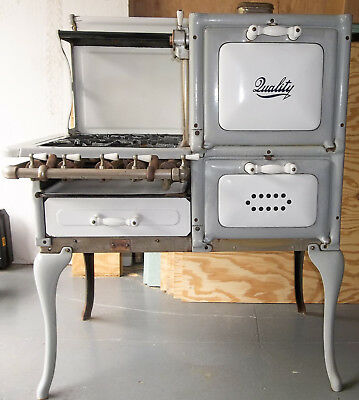 """Antique 1920's """"QUALITY"""" Gray & White Porcelain Gas Kitchen Cook Stove VERY NICE"""