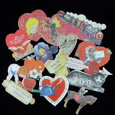 vtg Valentines Day 1920s -1940s die  cut, 1 handmade  Lot 13 children