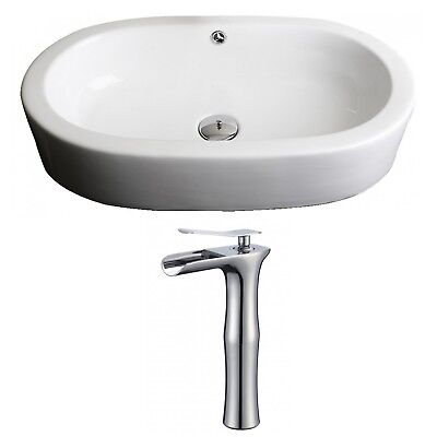 Transition Ceramic Oval Vessel Bathroom Sink with Faucet and Overflow AMIM6498