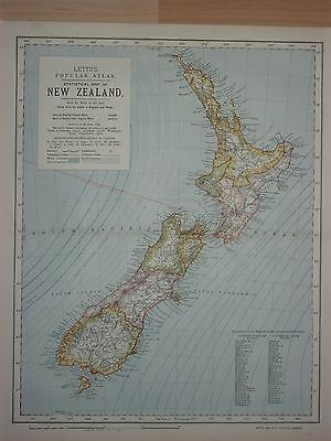 NEW ZEALAND ANTIQUE STATISTICAL MAP 1881 32 x 40cm LETTS POPULAR ATLAS