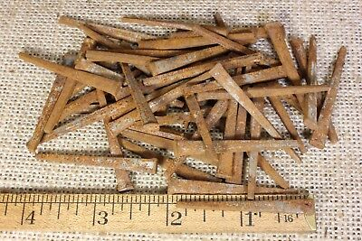 "1 7/8"" Old square NAILS 1/4"" x 1/8"" head 50 qty vintage 1880's iron  rust patina"