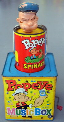 Vintage 1957 Mattel King Features POPEYE CAN Spinach Jack in the Box Music Box