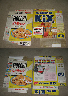 cereal box 1960 Kellogg's Fiocchi Corn Flakes Italy gorgeous (left box ONLY)