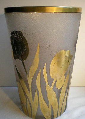 Grand vase Art Déco en verre dégagé à l'acide: décor de tulipes à l'Or fin