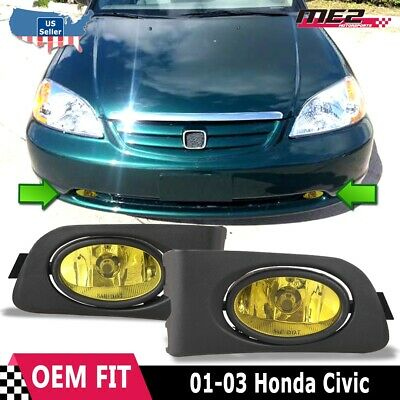 for honda civic 01-03 factory replacement fit fog lights wiring kit yellow  lens