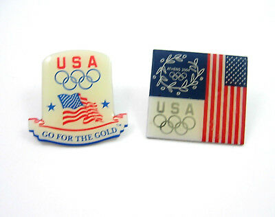 Pair of OLYMPIC PINBACKS USA American Flag Vintage Go For the Gold Tie Tack