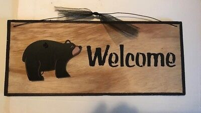 """WELCOME BLACK BEAR  country kitchen lodge wall home decor plaque wood Sign 12x4"""""""