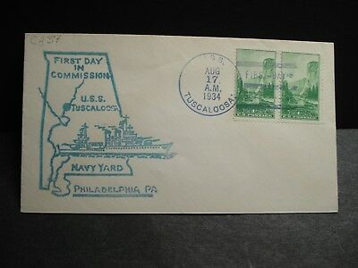 USS TUSCALOOSA CA-37 Naval Cover 1934 COMMISSIONED Cachet