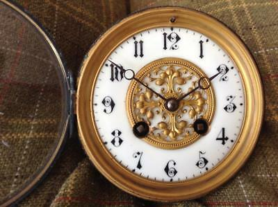 Antique 'Marti' French Clock Movement Brass & Porcelain Face Chiming 1889 Spares