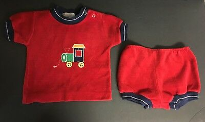 Vintage Healthtex Boys 18 Months Velour Two Piece Shorts Set w/ Train Outfit