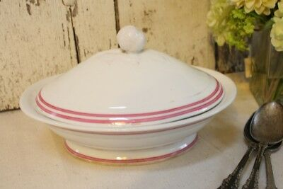 Old Paris Porcelain Covered Tureen Server Pink Double Band Border White Antique