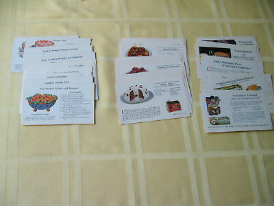 """Vtg Lot 50 5"""" X 3"""" Recipe Advertising Cards Sunkist Log Cabin Syrup Creamettes"""