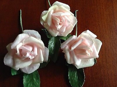 "Vtg Millinery Flower Rose 3p Lot 1 5/8"" Cotton Soft Pink for Hat + Hair Crown UB"