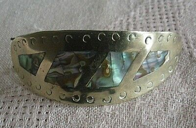 Vintage Alpaca Abalone Hair Barrette For Pony Tail ~ Beautiful!