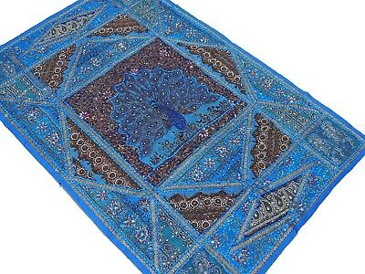 """Blue Peacock Decoration Indian Wall Hanging Huge Tapestry Textile Handmade 70"""""""