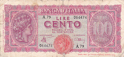 100 Lire  Vg-Poor Banknote From Italy 1943!pick-68