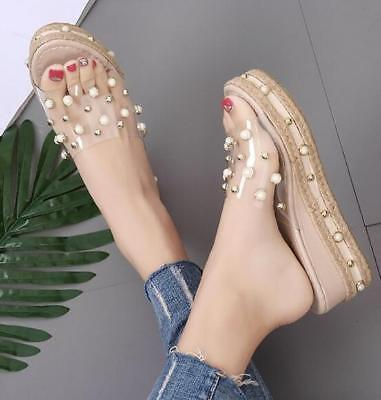 Womens Transparent Jelly Rivet Pearls Med Wedge Platform Mules Slippers Shoes