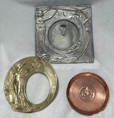 ART NOUVEAU COPPER PIN TRAY & 2 x PICTURE FRAMES FROM ESTATE SALE