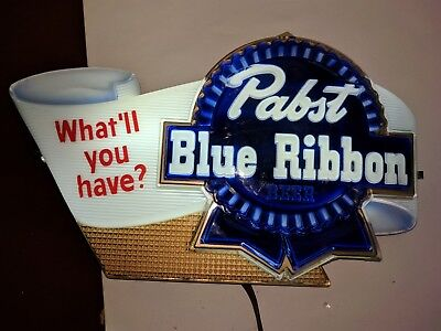 Pabst Blue Ribbon Light Up Beer Sign What'll You Have? Bar Sign In original Box